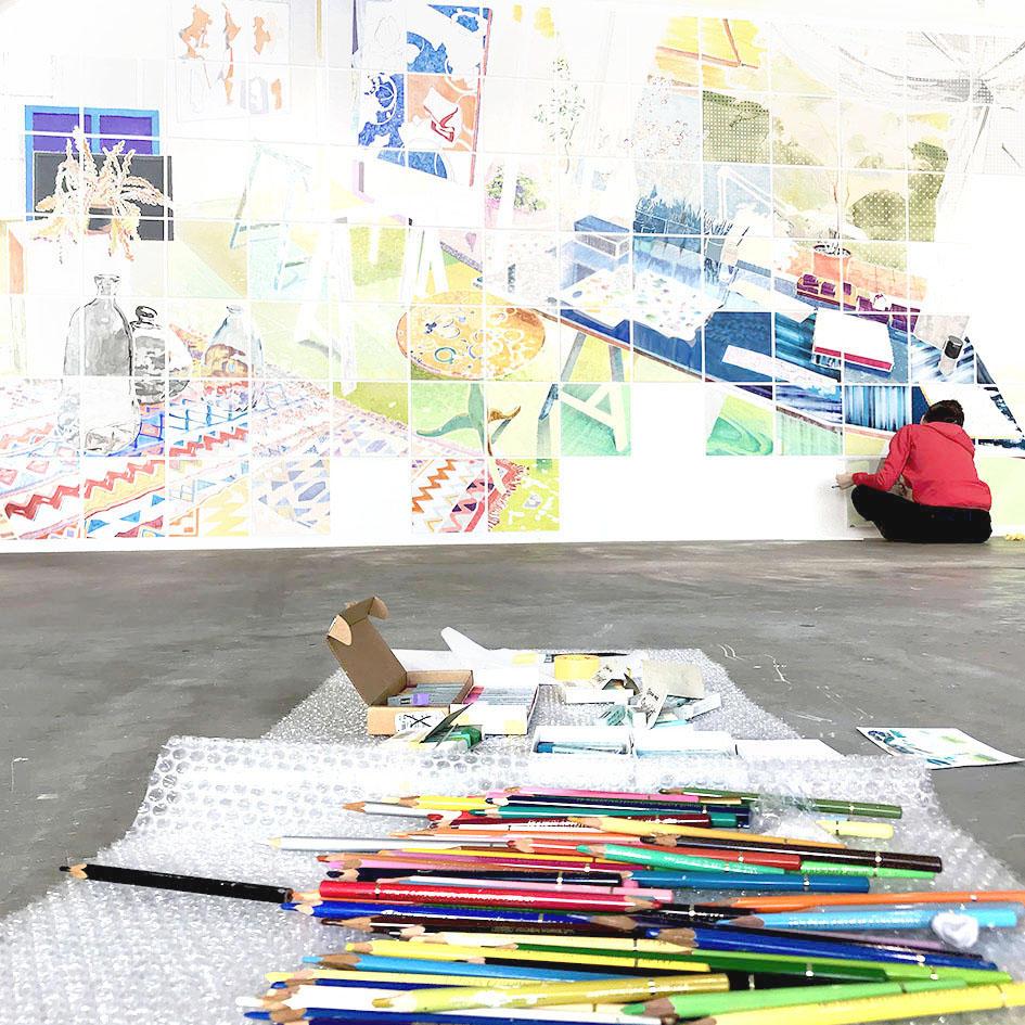 Masumi Nakaoka : Draw Interior Scape at artist's atelier